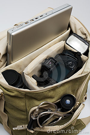 Camera, lens, flash