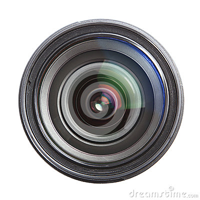 Camera lens isolated over white