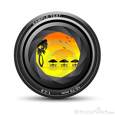 Camera lens with sea beach view