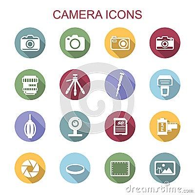 Free Camera Long Shadow Icons Royalty Free Stock Image - 46660826