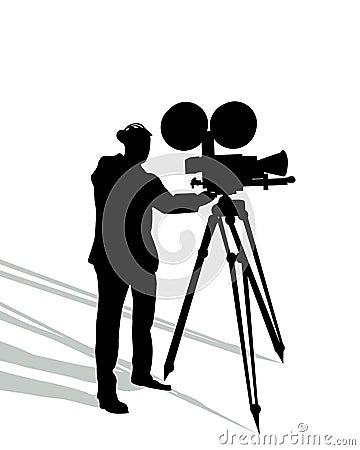Camera man on white