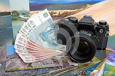 The camera on money and photos