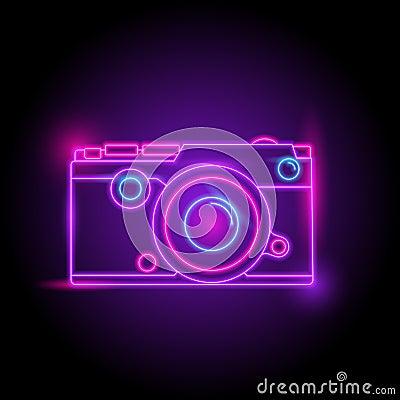 Free Camera Neon Logo. Glow In The Dark. Electric Theme Season. Party Night Club. Stock Images - 121796304