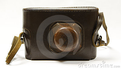 Camera in old, leather case