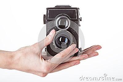 Camera operating on white isolated background