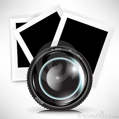 Camera photo lens with photograph