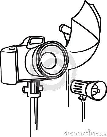 Camera, photoumbrella and flash
