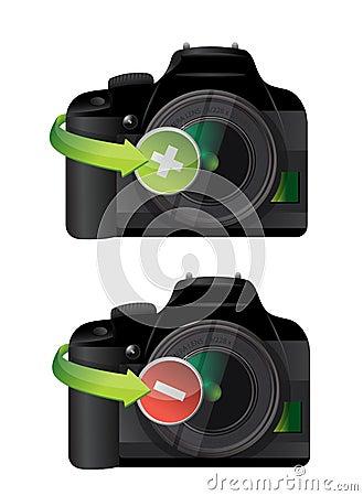 Camera plus and minus icons