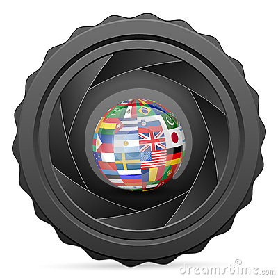 Camera shutter with national flag globe