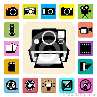 Camera and Video icons set ,Illustration