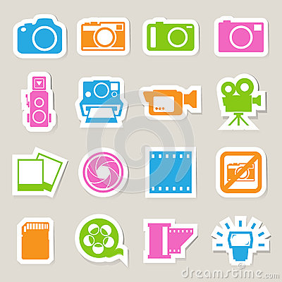 Camera and Video sticker icons set
