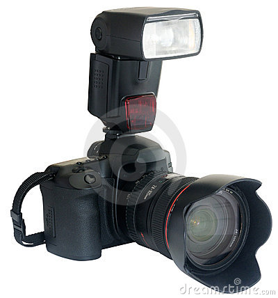 Free Camera With External Flash Royalty Free Stock Image - 9190926