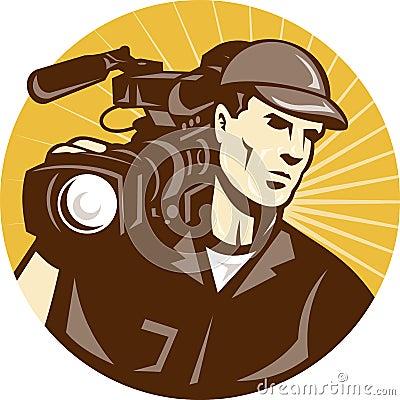 Cameraman Film Crew Pro Video Movie Camera