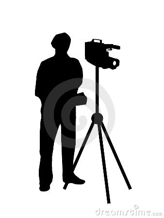 Cameraman filming silhouette