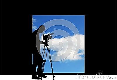 Cameraman filming sky