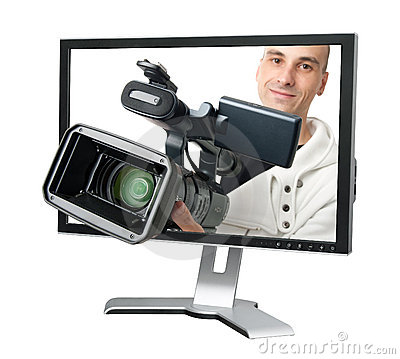 Free Cameraman In A Computer Monitor Stock Images - 16728324