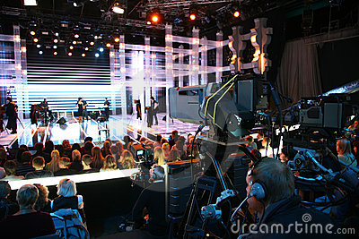 Cameraman on tv show Editorial Stock Photo