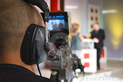 Cameraman in TV studio