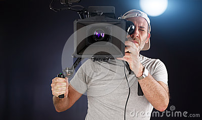 Cameraman working with a cinema camera