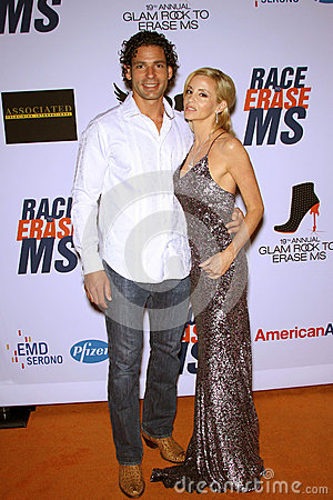 Camille Grammer and boyfriend Dimitri Charalambopoulos at the 19th Annual Race To Erase MS, Century Plaza, Century City, CA 05-19- Editorial Photography
