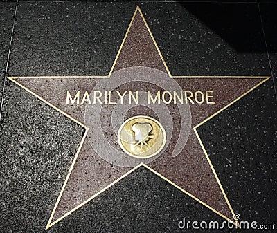 Caminata de la fama - Marilyn Monroe de Hollywood Imagen de archivo editorial
