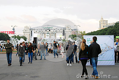 Caminhada dos povos no parque Foto Editorial