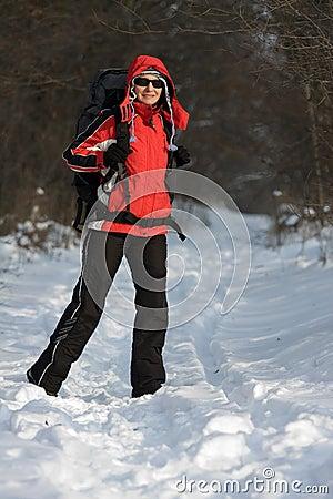 Caminhante na floresta