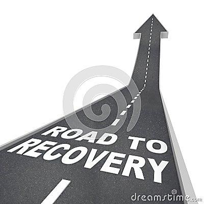 Camino a las palabras de la recuperación en el pavimento - encima de la flecha