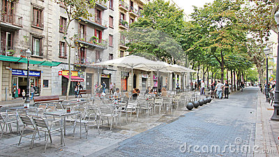 Camino Ramblas Poblenou Street Restaurant Seating Editorial Photography