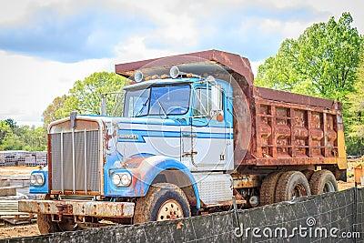 Camion benne basculante de kenworth de vintage image - Camion benne americain ...