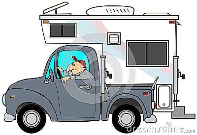 Camion et campeur