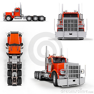 Camion lourd rouge