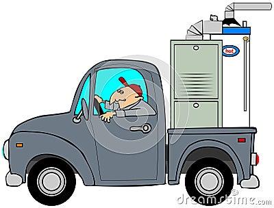Camion remorquant un four