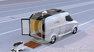 Camionete de entrega que libera robôs e o zangão decondução video estoque