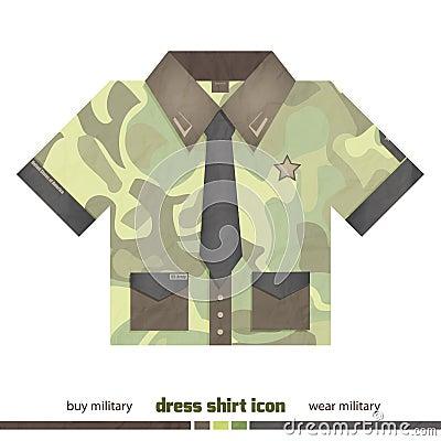 Camo shirt stock vector image 40959885 for White military dress shirt