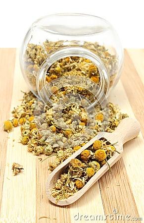 Camomille s che dans le pot en verre et sur la cuill re en bois photo stock image 39027171 - Le coup de la cuillere en bois ...