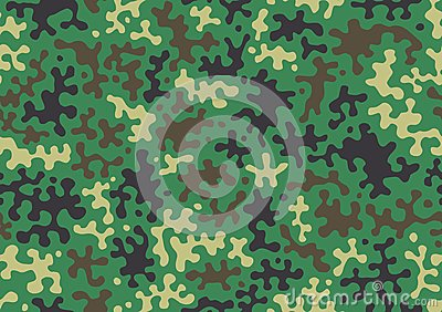 Camouflage pattern background. Classic clothing style masking camo repeat print. Green brown black olive colors forest texture. Ve Vector Illustration