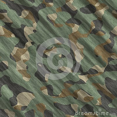 Camouflage pattern background seamless illustration. Classic clothing style masking camo repeat print. Green brown black olive col Cartoon Illustration