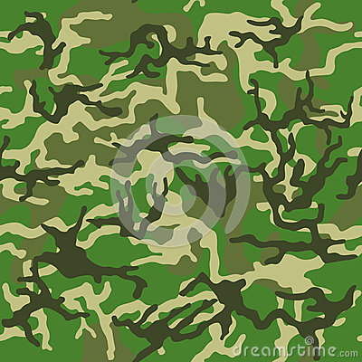 Camouflage pattern background seamless vector illustration. Classic clothing style masking camo repeat print. Green brown black ol Vector Illustration