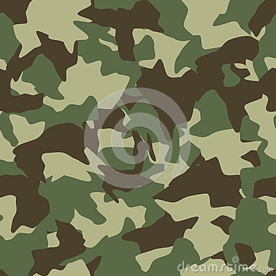 Camouflage seamless pattern. Green, brown, olive colors forest texture Vector Illustration