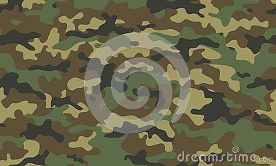 Camouflage seamless pattern. Trendy style camo, repeat. Vector illustration. Khaki texture, military army green hunting Vector Illustration