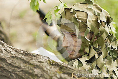 Camouflaged military man