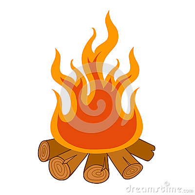 Camp Fire On White Background Stock Vector - Image: 39439760