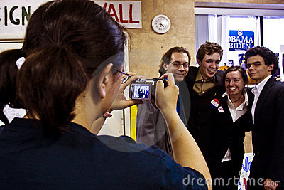 Campaign volunteers celebrate Editorial Photography