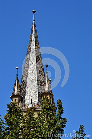 Campanario evangélico de la catedral de Sibiu, Transilvania