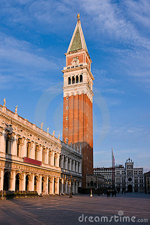 Campanile bell tower at dawn in Venice