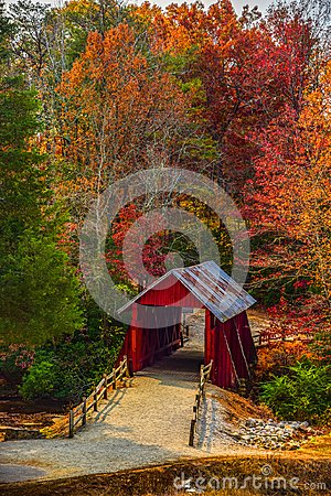 Free Campbells Covered Bridge With Autumn Fall Colors Landrum Greenville South Carolina Royalty Free Stock Photography - 110016367