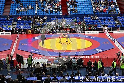 Campeonato del mundo en la lucha 2010 Foto de archivo editorial
