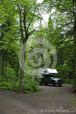 Camper on campsite