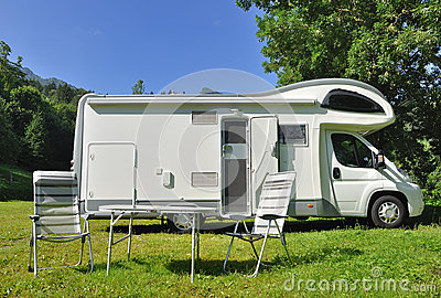 Camper Parked In A Countryside Stock Photo - Image: 29628020